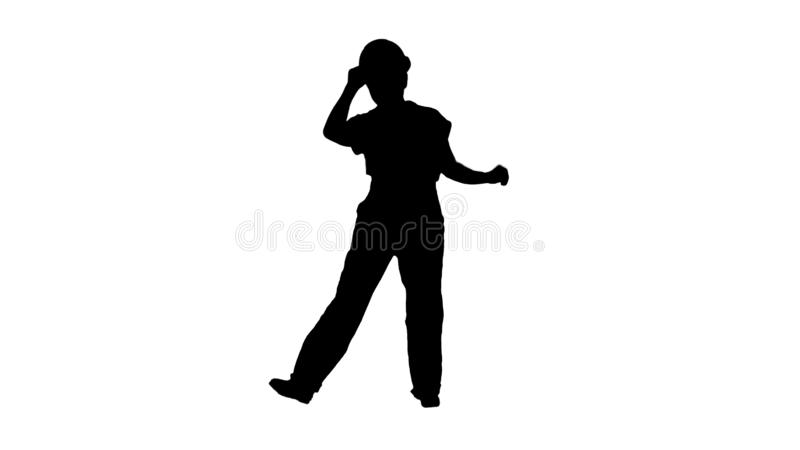 Silhouette Female construction worker funny dance. vector illustration