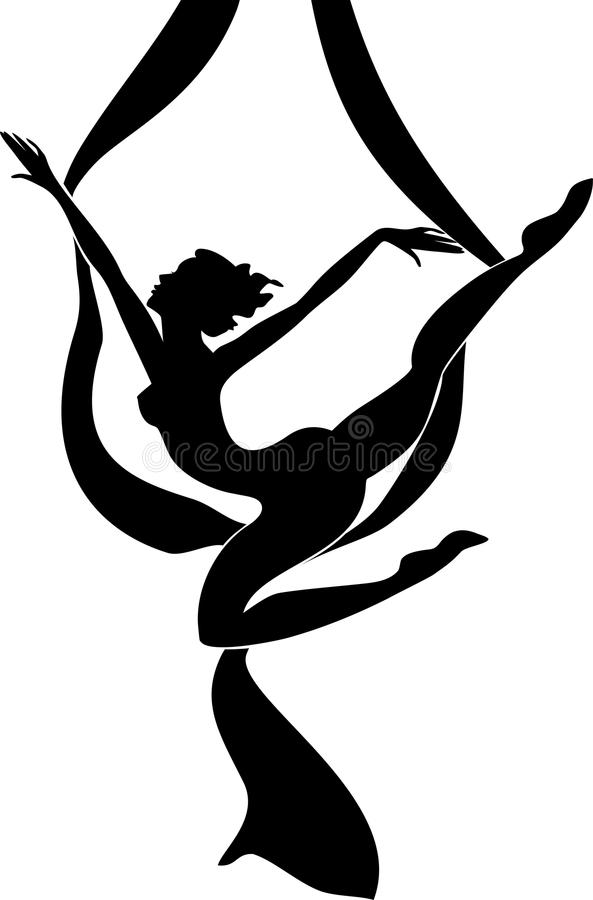 Silhouette of female dancer on aerial silk. On white background royalty free illustration