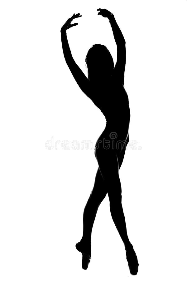 Silhouette of female dancer in black and white royalty free stock image
