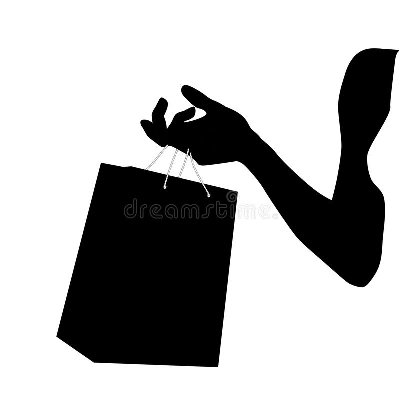 Silhouette Female hand holding paper shopping bag. Paper gift package in hand of young woman. 3D Vector illustration in black and royalty free illustration