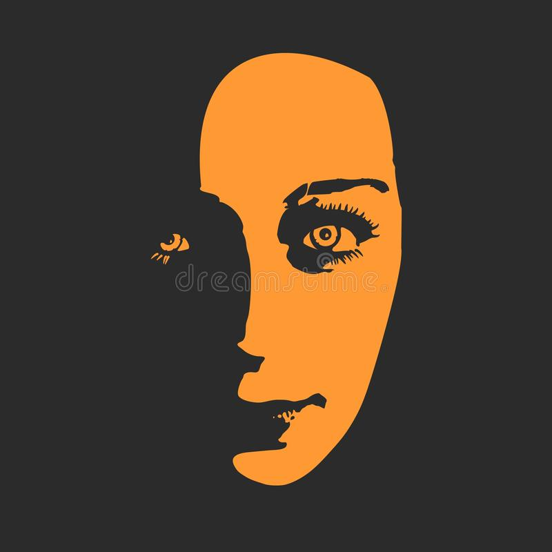 Silhouette of a female head. royalty free illustration