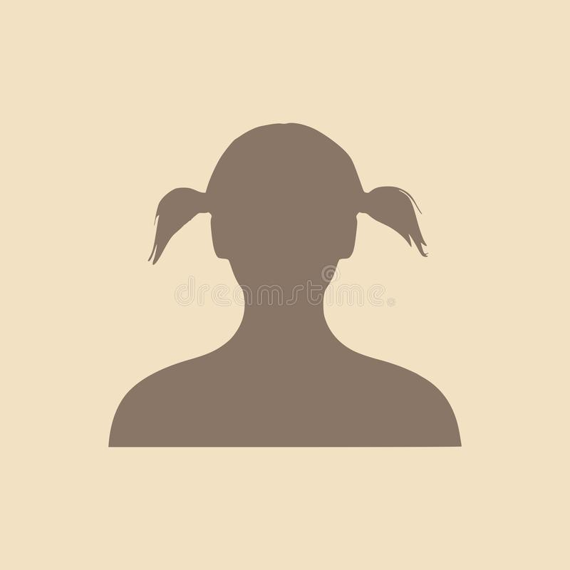 Silhouette of a female head. Face profile view. royalty free illustration