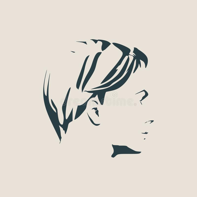 Silhouette of a female head. Face side view. vector illustration