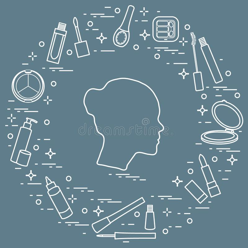 Silhouette of female head and various accessories for the application of decorative cosmetics. Glamour fashion vogue style royalty free illustration