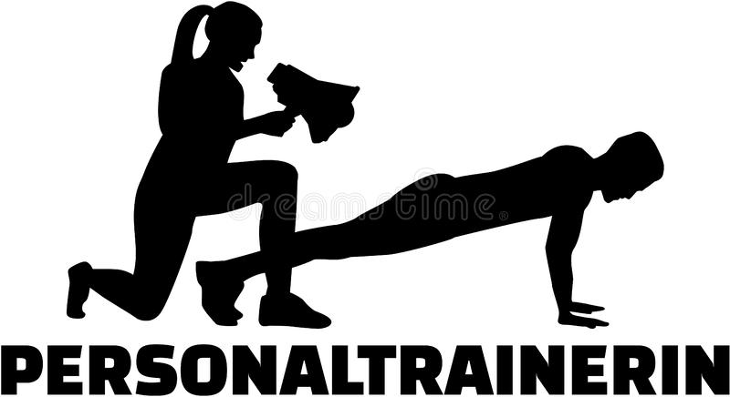 Silhouette of female personal trainer royalty free illustration