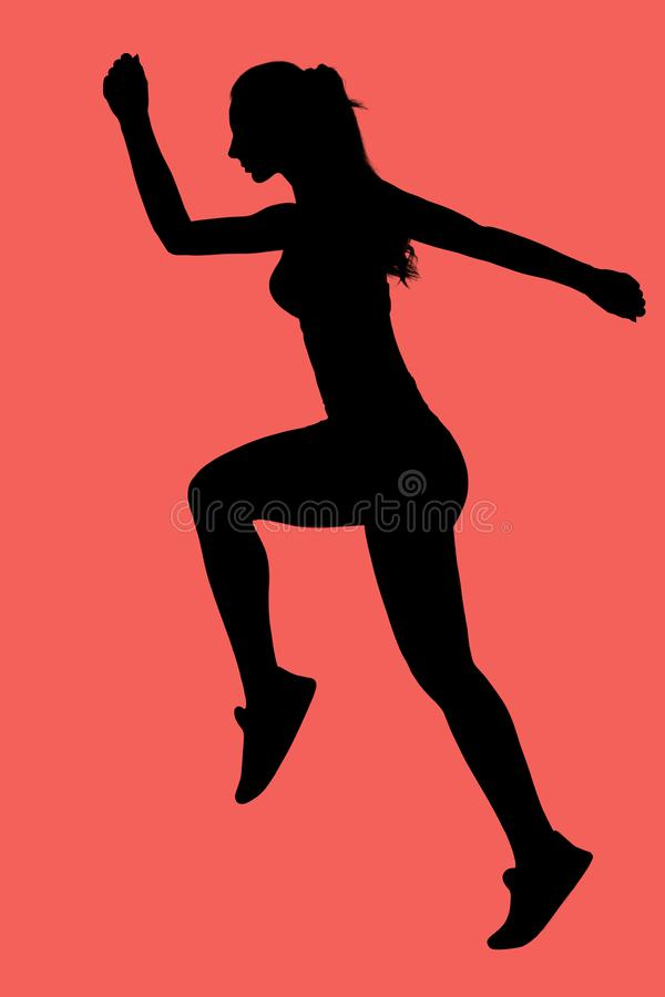 Silhouette of female runner royalty free stock images