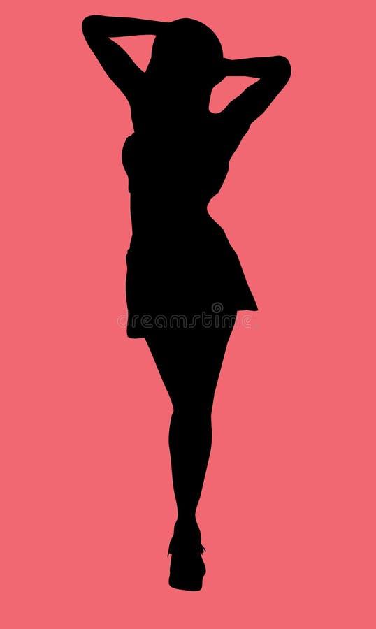 Silhouette femelle avec le chemin de découpage illustration stock