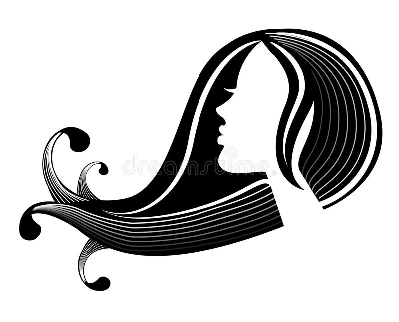 Silhouette femelle dans le profil et les cheveux illustration stock