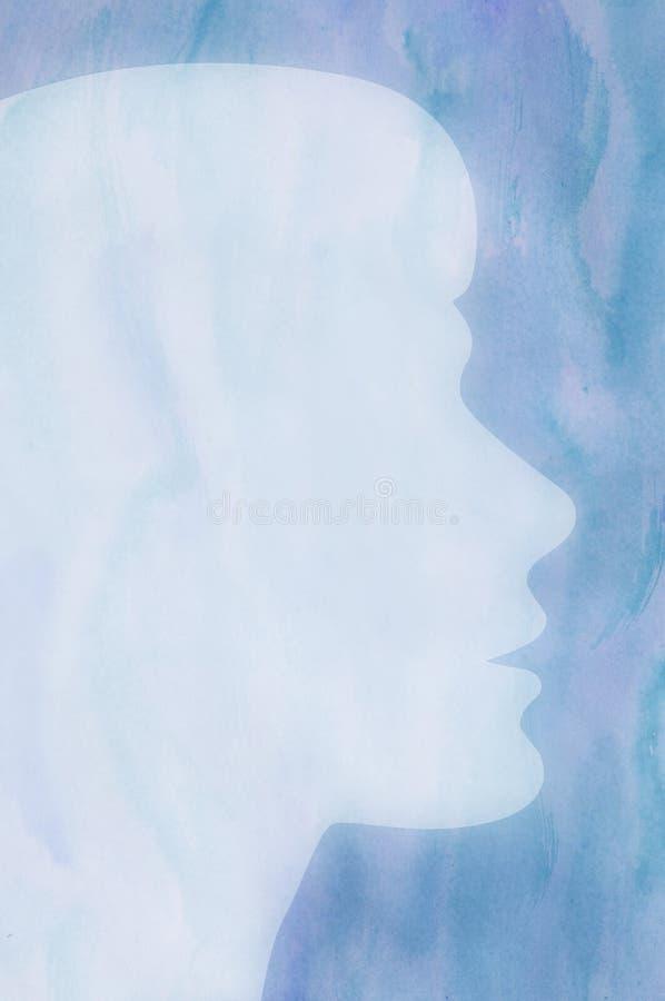 Silhouette femelle sur un fond bleu d'aquarelle illustration de vecteur