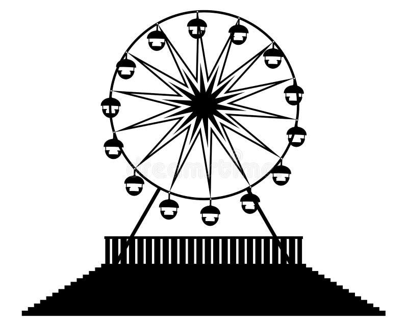 Silhouette Ferris wheels royalty free illustration