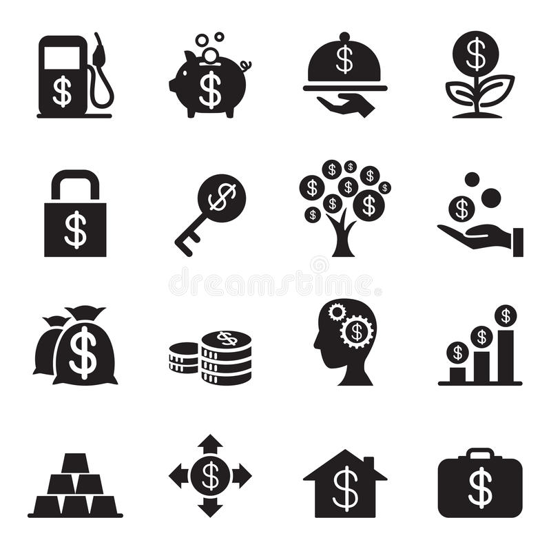 Silhouette Financial Investment icons set vector illustration