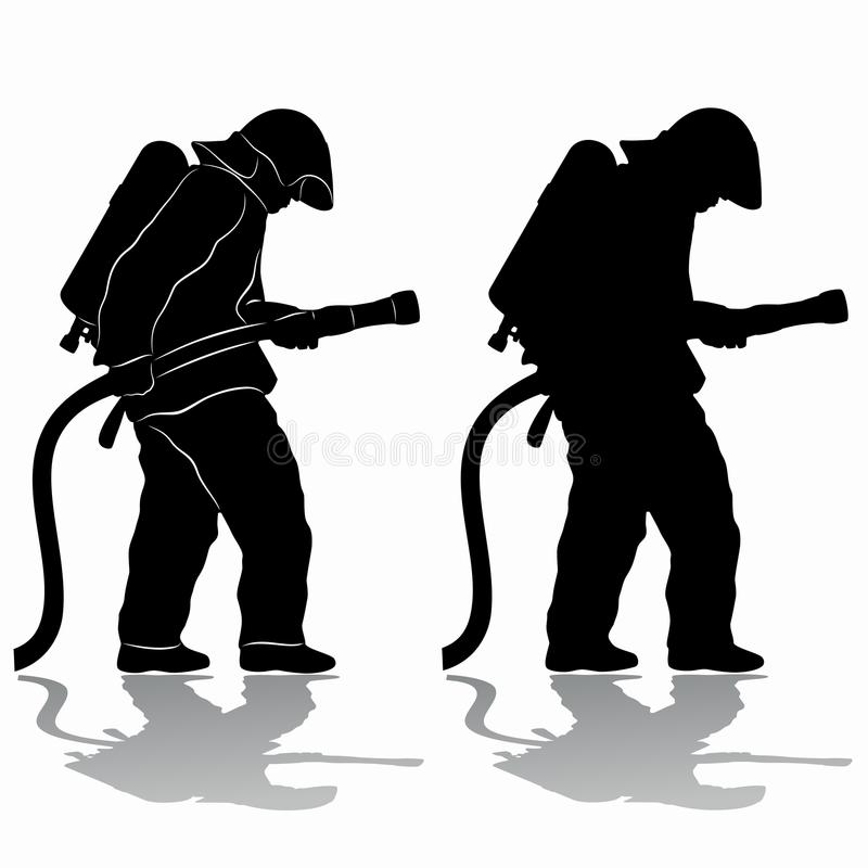 download silhouette of a fireman vector draw stock vector image 84151671