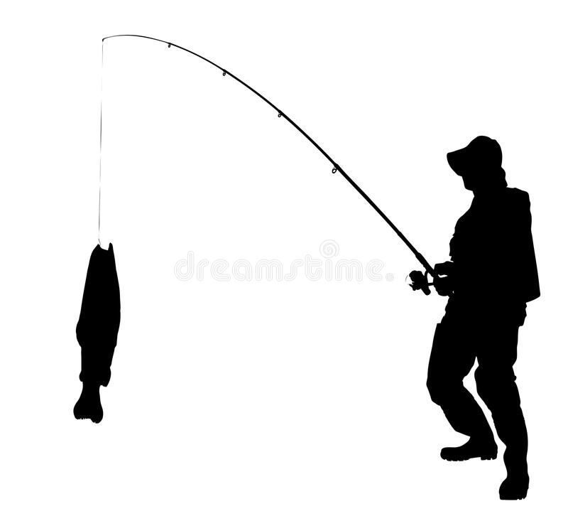 A silhouette of a fisherman with a fish stock illustration