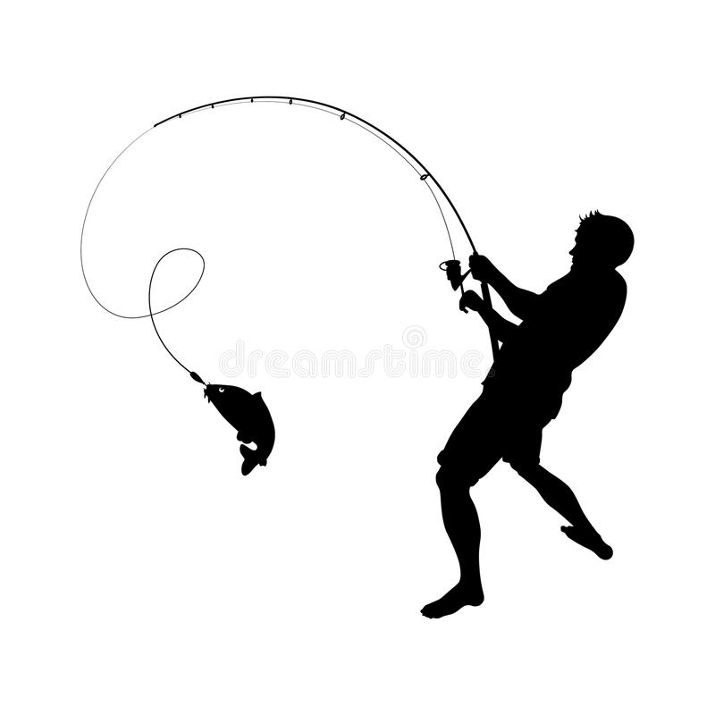 Fisherman catches fish on a fishing rod royalty free illustration