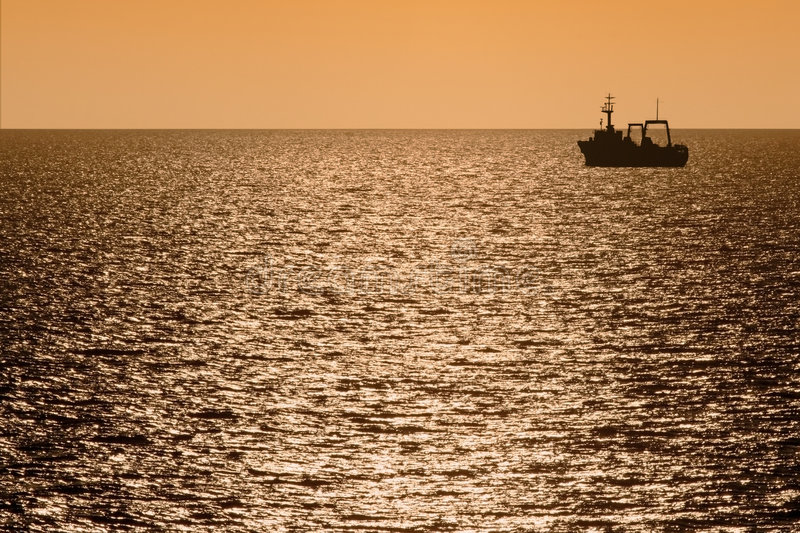Download Silhouette Of Fishing Trawler At Dusk Stock Image - Image: 6746621