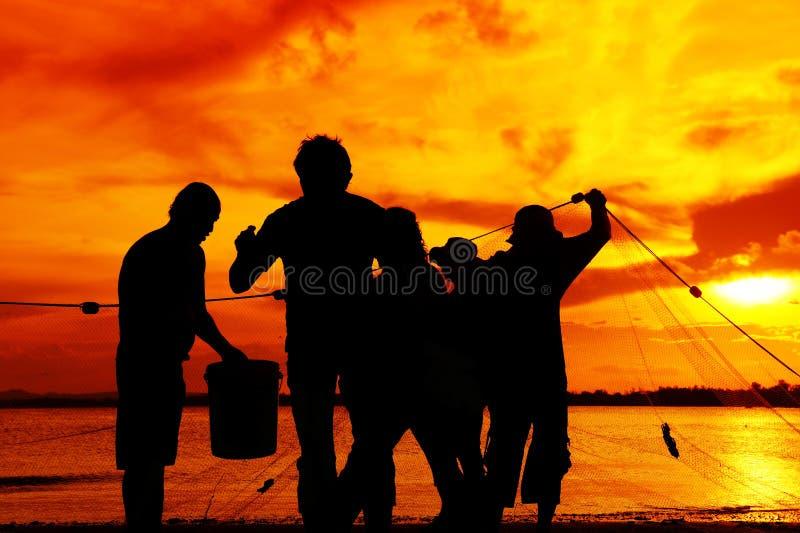 Silhouette fishman photo libre de droits