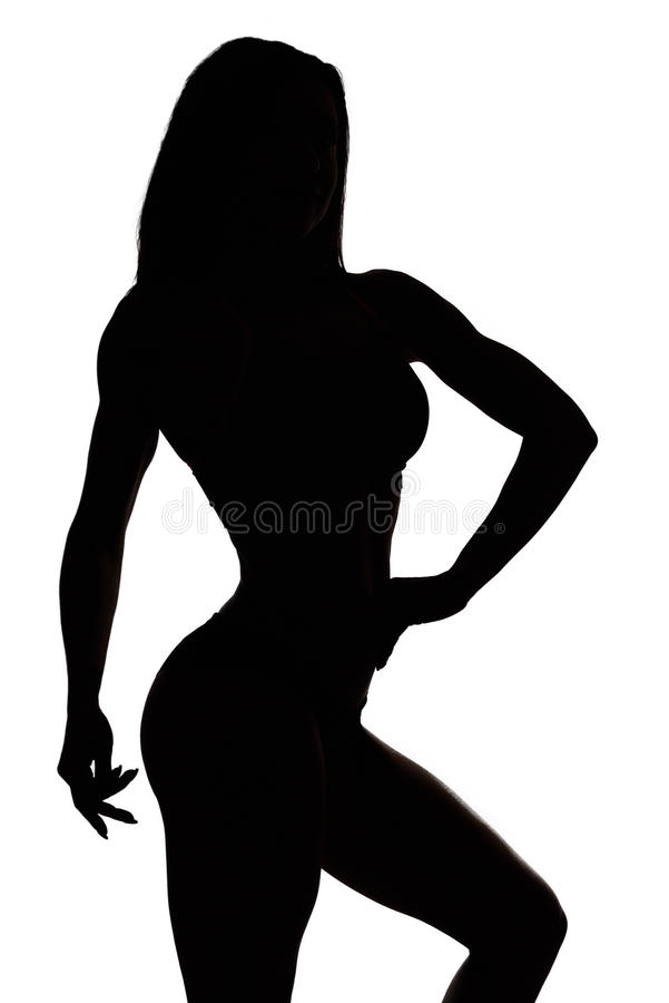 Silhouette of a fitness woman royalty free stock images