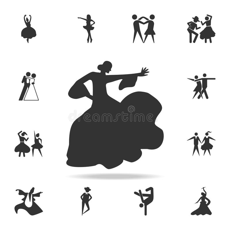 the silhouette of flamenco icon. Set of people in dance element icons. Premium quality graphic design. Signs and symbols collecti vector illustration