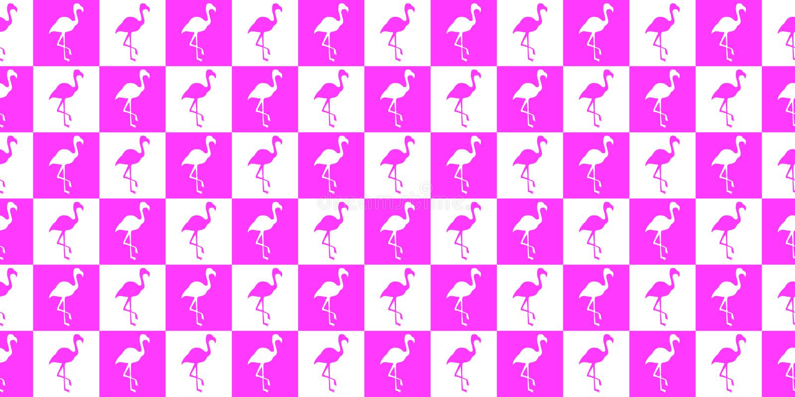 Silhouette of a flamingo geometric seamless pattern. Silhouette of flamingos in pink and white squares royalty free illustration