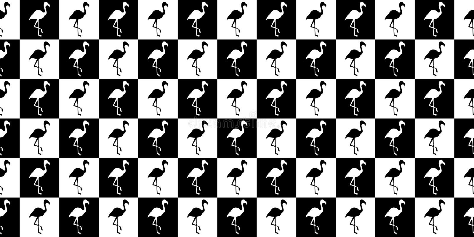 Silhouette of a flamingo geometric seamless pattern. Silhouette of flamingos in black and white squares royalty free illustration