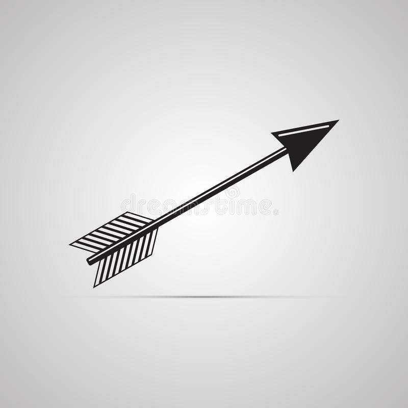 Silhouette flat icon, simple vector design with shadow. Arrow illustration for darts and arbalest stock illustration