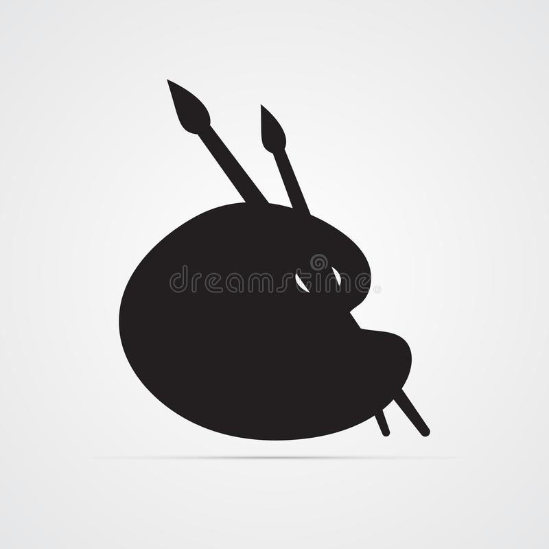 Silhouette flat icon, simple vector design with shadow. Artist`s palette with paints and 2 brushes stock illustration
