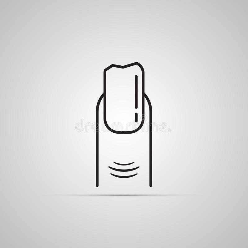 Silhouette flat icon, simple vector design with shadow. Finger with broken nail stock illustration
