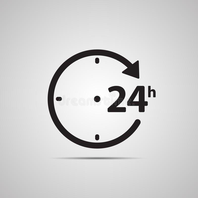 Silhouette flat icon, simple vector design with shadow. Watch face with arrow and symbol 24 hours. For store delivery, work and open all day long vector illustration
