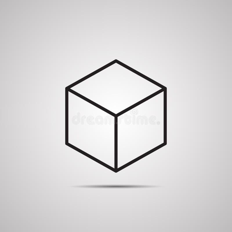Silhouette flat icon, vector design. Black 3d cube vector illustration