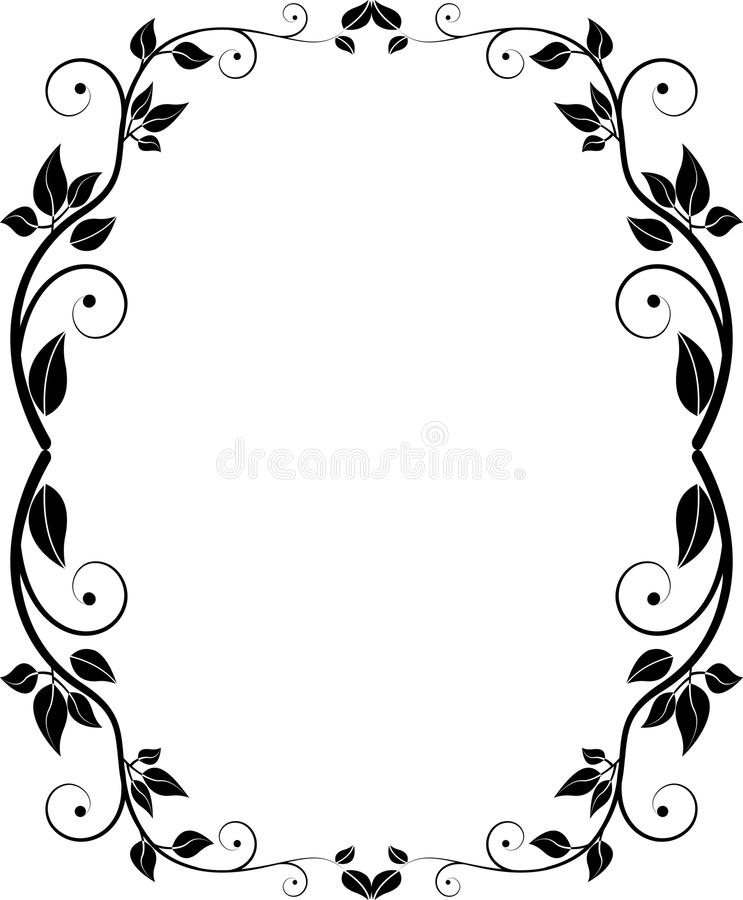 Download Silhouette floral frame stock vector. Image of graphic - 26611052