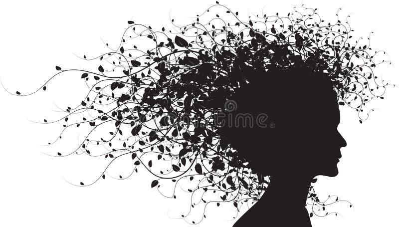 Silhouette florale de fille illustration libre de droits