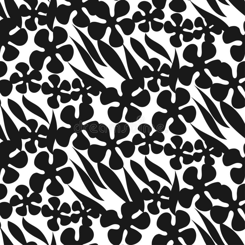 Silhouette flowers and leaves seamless pattern. Decorative forest repeatable motif for fabric, textile, web and print surface project. Laconic minimal sketch stock illustration
