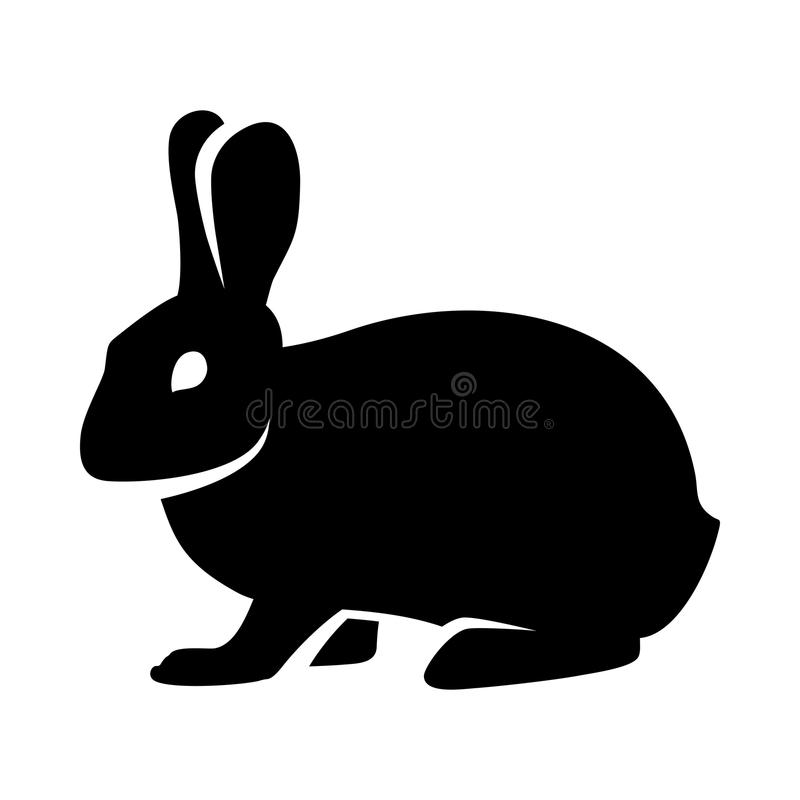 Silhouette Of A Fluffy Rabbit Or Hare Logo Stock Vector ...
