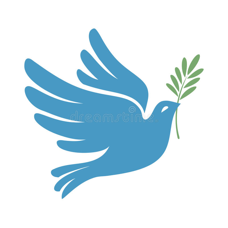 Silhouette of a flying dove with olive branch. White pigeon vector illustration
