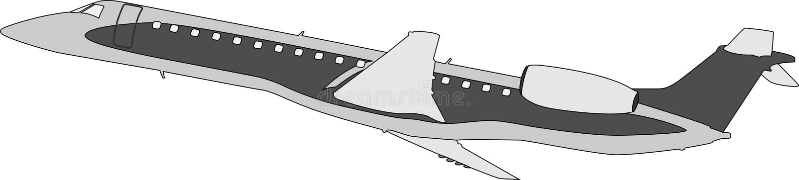 Silhouette of the flying-up plane stock photo