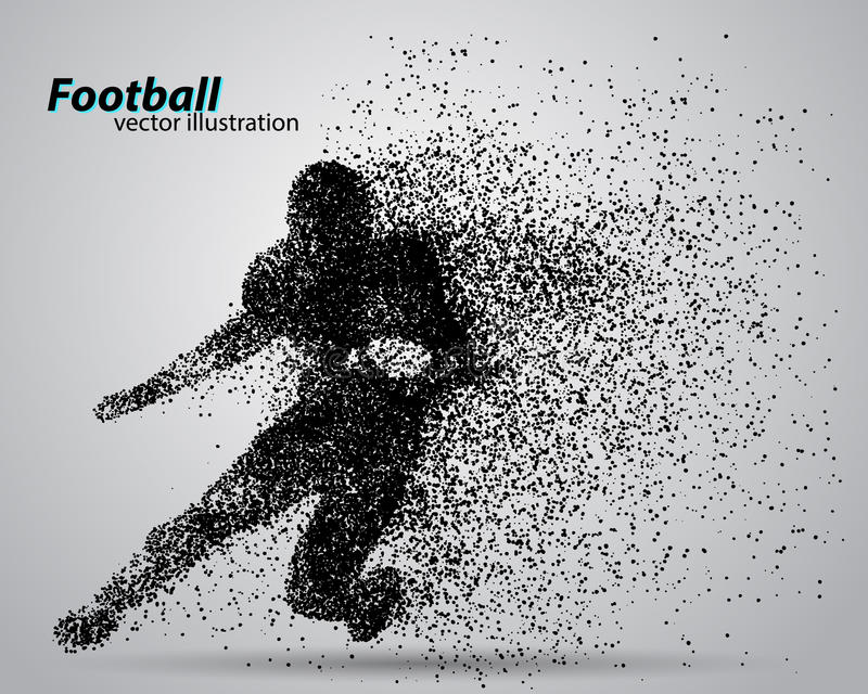 Silhouette of a football player from particle. Rugby. American footballer royalty free illustration