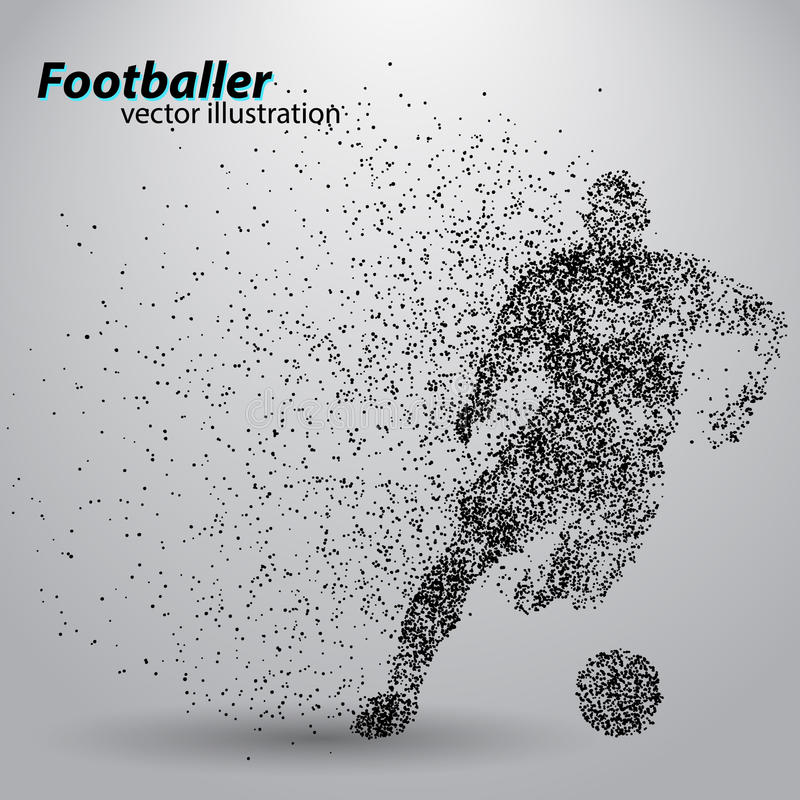 Silhouette of a football player from particles stock illustration