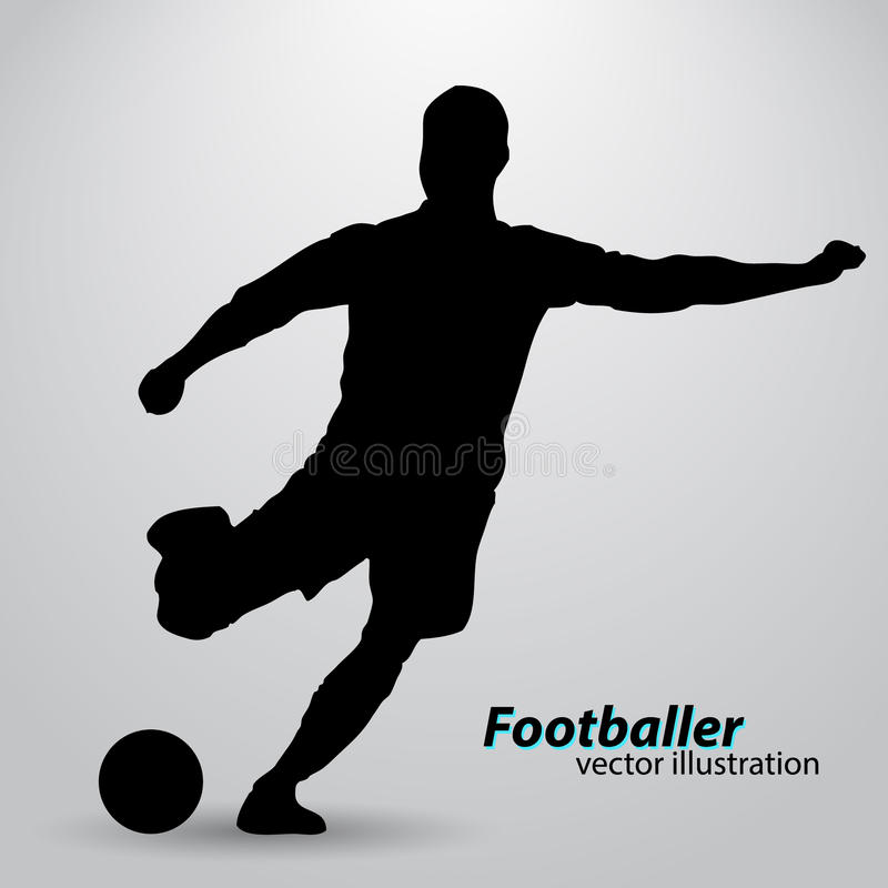 Silhouette of a football player. Text and background on a separate layer, color can be changed in one click stock illustration