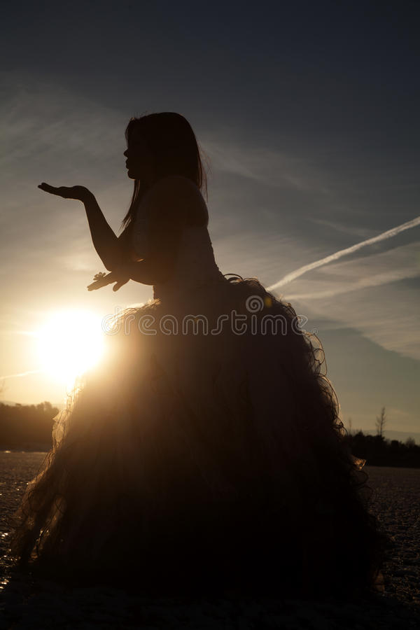 Silhouette formal ice hand up. A silhouette of a woman standing on a frozen lake blowing a kiss stock photos