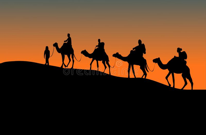 Silhouette of four camel riders. Up hill with sunset background vector illustration