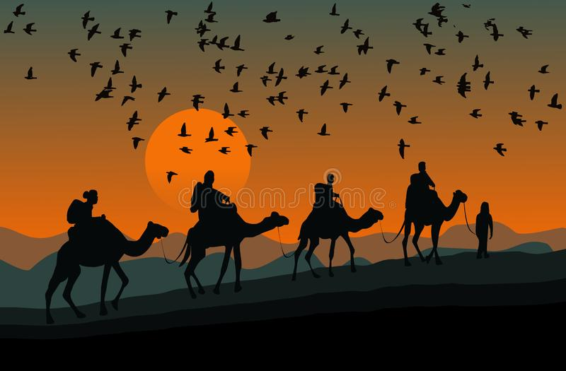 Silhouette of four camel riders. Up hill with sunset background. Silhouette of four camel riders. Up hill with sunset and flock of bird background royalty free illustration