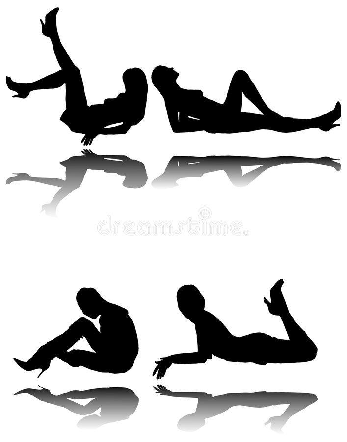 Download Silhouette Of Four Girls With Reflection Stock Vector - Image: 2035368
