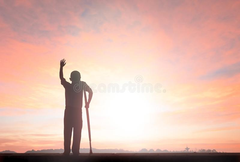 Silhouette freedom humble man rise hands up inspire good morning stock photos