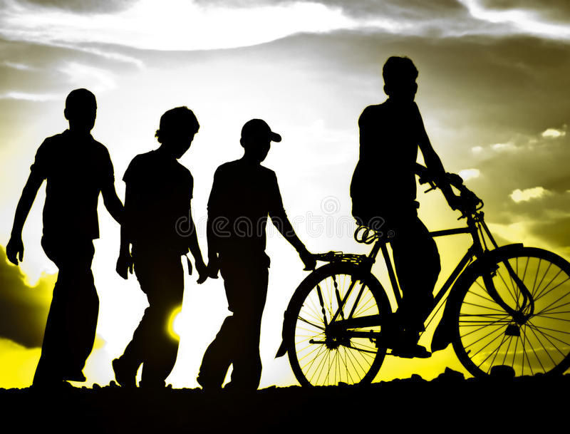 Download Silhouette: Friends stock photo. Image of rural, walking - 14217764