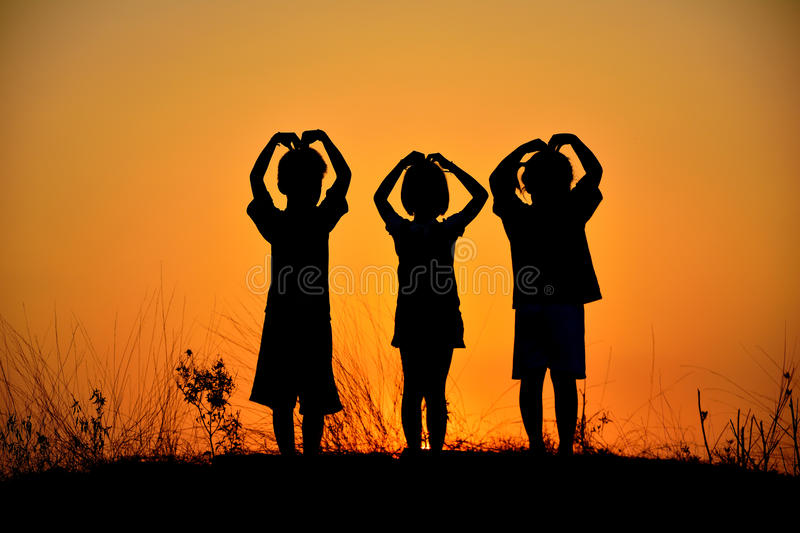 Silhouette friendship of three royalty free stock image