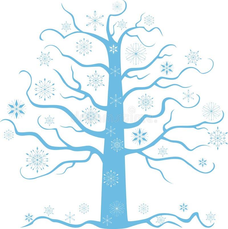 Silhouette of frozen tree stock illustration