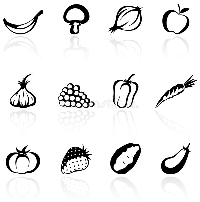 Download Silhouette Fruit & Vegetables Stock Vector - Image: 5842116