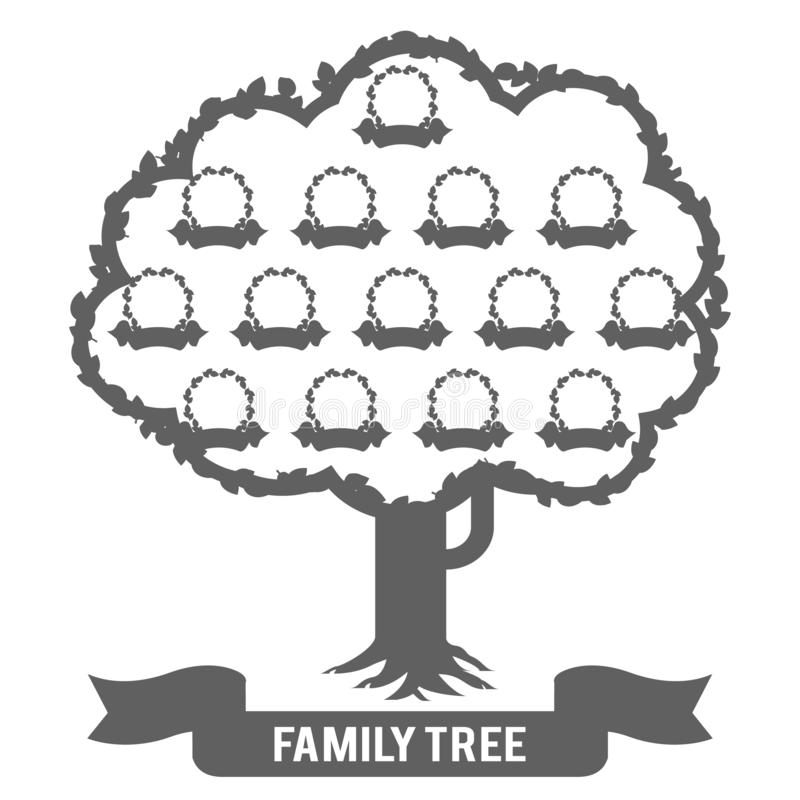 Silhouette genealogy family tree son daughter father mother grandfather grandmother parent photo picture frames design. Silhouette genealogy family tree son stock illustration