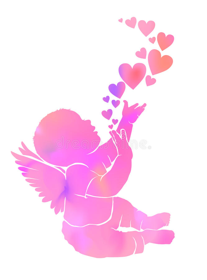 Silhouette gentle watercolor baby with wings and hearts vector illustration