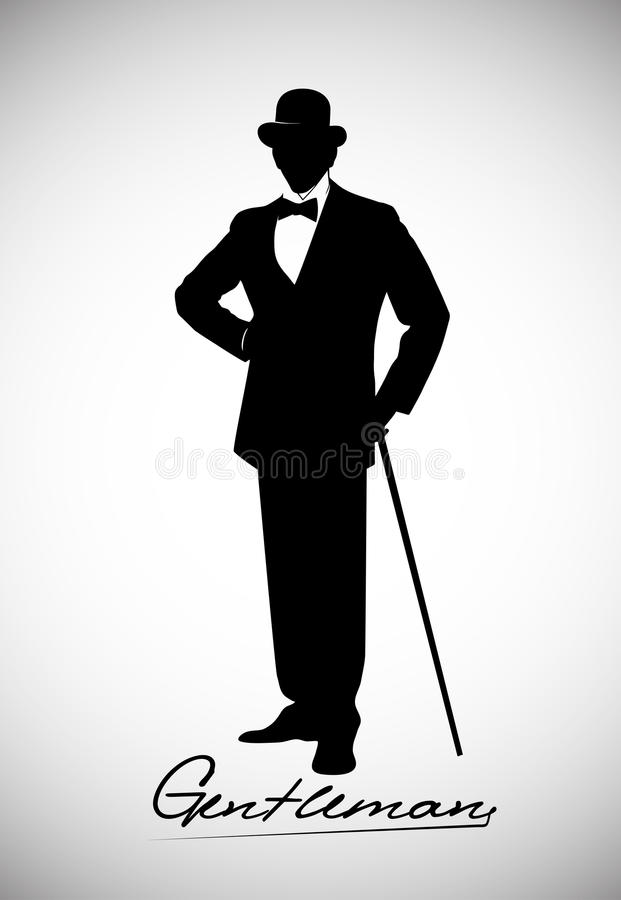 Silhouette of a gentleman in a tuxedo stock illustration